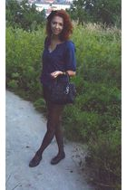 blue Stradivarius blouse - black Mango top - black H&M shorts - black christian