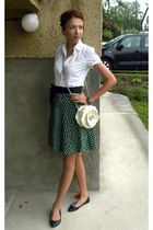 white Gate shirt - green thrifted skirt - black Gate shoes - white Topshop purse