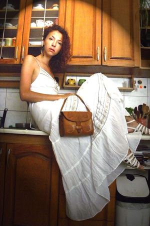 white Promod dress - white Deichmann shoes - brown vintage purse - brown Gate ea