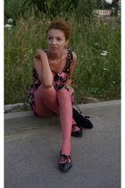 black F&F dress - pink unknown tights - black Gate shoes - black New Yorker purs