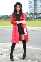 black Rockwell dress - black H&M shoes - red Mango coat - black Hong Kong hat