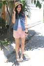 Blue-vintage-vest-pink-random-from-hong-kong-shorts-white-topshop-top-whit