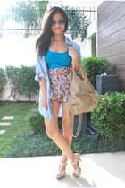 blue Zara blouse - blue Hong Kong shorts - blue H&M top - beige H&M shoes - beig