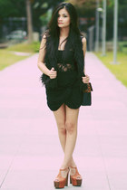 black leopard Bazaar bag - black faux fur Pink Manila vest