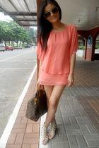 orange Borrowed from mom blouse - white shorts