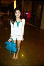 white Topshop blouse - white random brand shorts - white HK belt - gold shoes -
