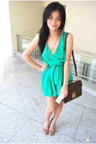 green romper Rockwell Bazaar dress - brown suede pumps Zara shoes
