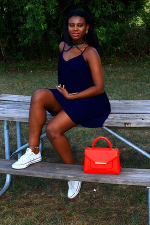 ted baker bag - Converse shoes - blue Sheinside dress