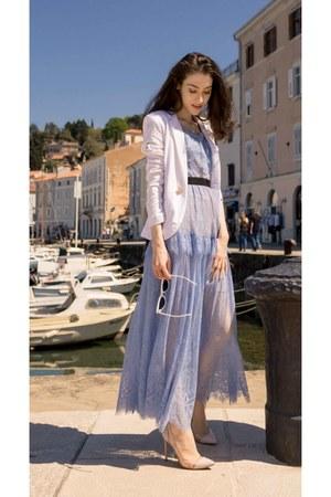 periwinkle lace long dress Self Portrait dress