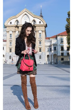 dark green mini skirt boho Pepe Jeans skirt - burnt orange stuart weitzman boots