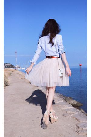 light pink sheer tulle Zara dress - ivory espadrilles Ugg wedges