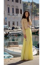 yellow Needle & Thread skirt - light pink Gianvito Rossi shoes