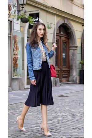 light blue denim jacket H&M jacket - navy Margaret Howell skirt