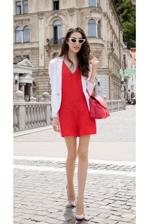 red ba&sh romper - ivory plexi Gianvito Rossi shoes