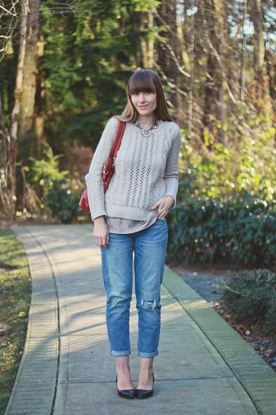 Loft sweater - Aldo Shoes shoes - American Eagle jeans - madewell blouse
