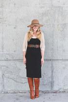 Forever 21 dress - Aldo boots - modcloth belt - Forever 21 cardigan