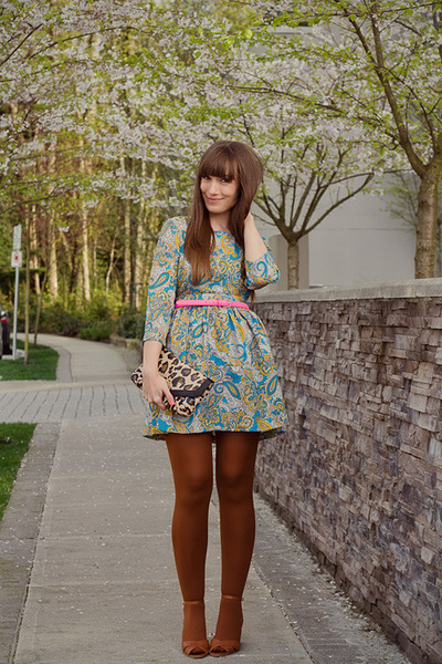 H&amp;M dress - asos tights - Jeffrey Campbell wedges
