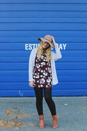 Shop Ruche dress - Aldo Shoes boots - Forever 21 hat - Old Navy cardigan