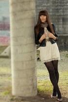 lace H&M dress - argyle ae tights - brass buckle modcloth belt
