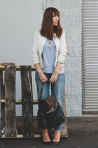 banana republic blazer - Aldo shoes - American Eagle jeans - banana republic bag