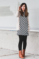 madewell cardigan - Aldo boots - Forever 21 dress