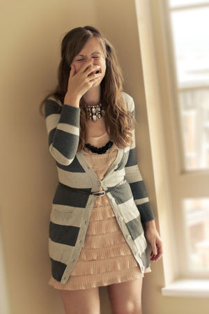 pink H&amp;M dress - silver kirsh cardigan - black OLIVE  mE necklace