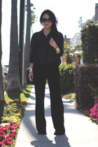 black made by mom pants - black H&M blouse