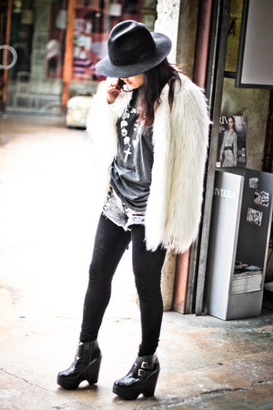 white fur jacket Zara jacket - black busted creepers Jeffrey Campbell boots
