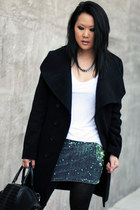 aquamarine sequin Motel Rocks skirt - black Yesstyle coat - white Zara shirt