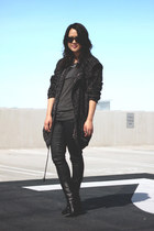 black Giuseppe Zanotti boots - black Yesstyle coat - charcoal gray H&M shirt