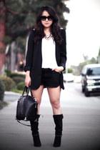 black Isabel Marant boots - black studded Zara blazer - white Zara shirt