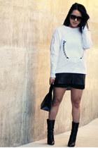 white Zara sweater - black emporte Marie Turnor bag - black leather H&M skirt