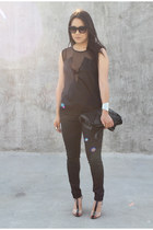 black H&M top - black Alexander Wang shoes - black Zara pants
