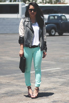 aquamarine Akira pants - black gestuz jacket - black Zara sandals