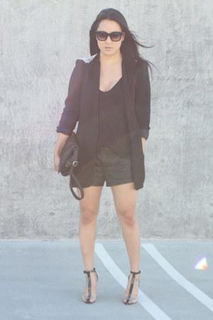 black Alexander Wang shoes - black Zara blazer - black free people shorts