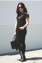 black Zara t-shirt - black wedge python Giuseppe Zanotti boots