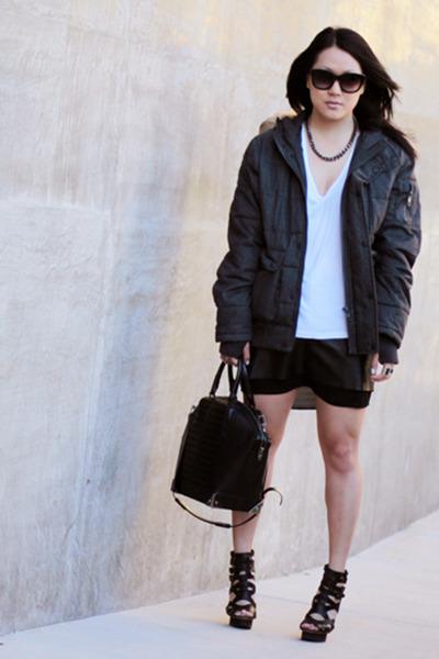 gray puffer bomber asos jacket - black emile Alexander Wang bag