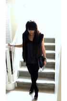 black vintage vest - American Apparel leggings - black Zara shorts - black top -