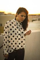 white MinkPink blouse - black trench coat H&M coat