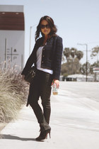 blue Chanel jacket - black Zara boots - black Zara pants