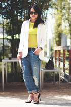 Zara jeans - H&M blazer - Zara shirt - Zara sandals - flying scissors wallet