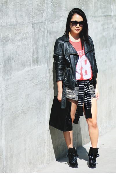 black Zara boots - black Zara jacket - black Club Monaco sweater