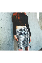 HOUNDSTOOTH PENCIL WOOL SKIRT