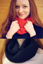 Holiday Gift❤ Ribbed infinity scarf [black,red]