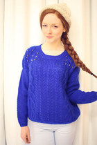 Deep Royal Sweater with Studs