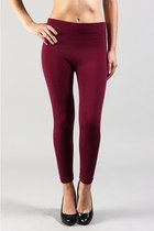 SKINNY FLEECE LINED LEGGINGS - BLACK&amp;WINE