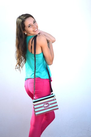 hot pink Bershka jeans - hot pink Lacoste bag