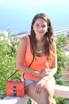 orange Lefties blouse - carrot orange Primark bag - yellow Primark necklace