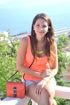 orange Lefties blouse - carrot orange Primark bag - yellow Primark necklace