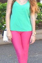 green Primark blouse - black Prada sunglasses - hot pink Bershka pants